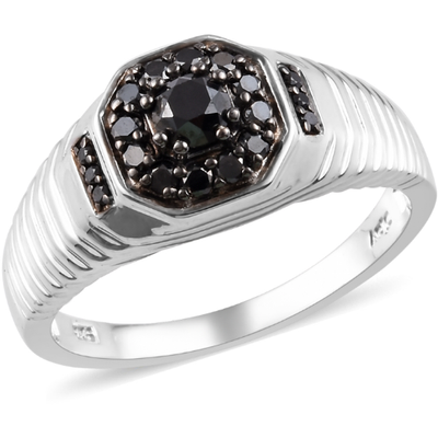 Black Diamond Men's Ring in Rhodium & Platinum over Sterling Silver Gemstone Collectors U.S.