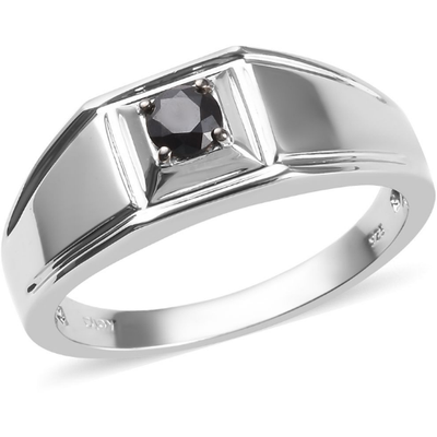 Black Diamond Men's Solitaire Ring in Platinum over Sterling Silver 0.50ct Gemstone Collectors U.S.