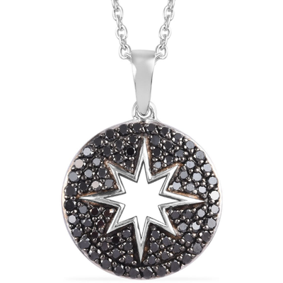"Black Diamond Star Pendant Necklace 20"" in Platinum over Sterling Silver 1.00ctw Gemstone Collectors U.S."