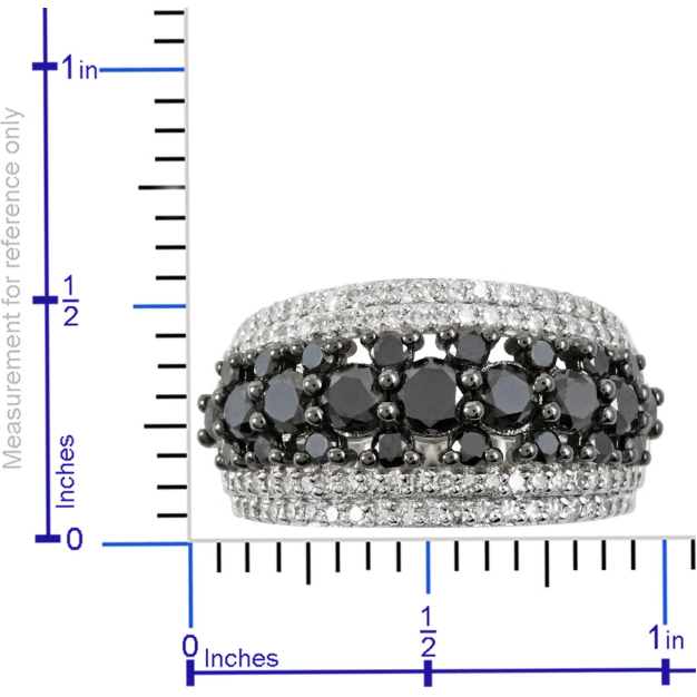 Black Diamond & White Diamond Band Ring in Platinum over Sterling Silver Gemstone Collectors U.S.