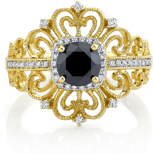Black Diamond & White Vintage Inspired 14k Yellow Gold Ring 1.28ctw Gemstone Collectors U.S.
