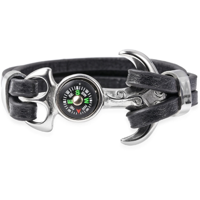 Black Microfiber Leather Anchor Bracelet in Stainless Steel Gemstone Collectors U.S.
