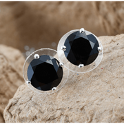 Black Spinel 10mm Round Stud Earrings in Platinum over 925 Sterling Silver 7.00ctw Gemstone Collectors US