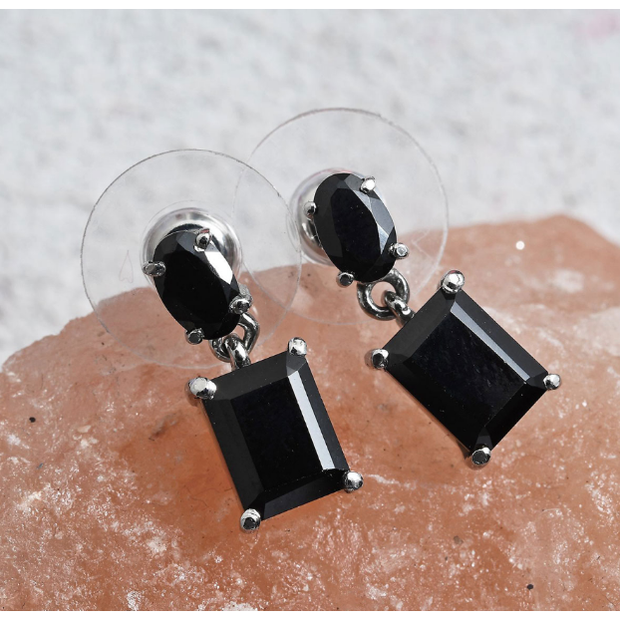 Black Spinel Dangle Earrings in Surgical Grade Stainless Steel Gemstone Collectors U.S.