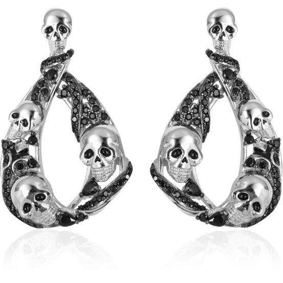 Black Spinel Skull Dangle Earrings in Platinum and Rhodium over Sterling Silver Gemstone Collectors U.S.