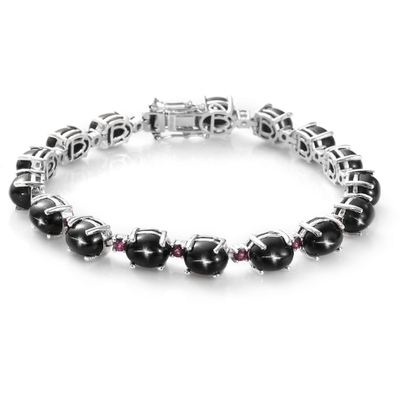 "Black Star Diopside & Rhodolite Garnet Bracelet in Platinum over Sterling Silver (7.25"") Gemstone Collectors U.S."