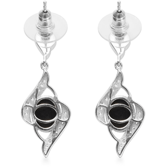 Black Star Diopside & Zircon Dangle Earrings in Platinum over Sterling Silver Gemstone Collectors U.S.