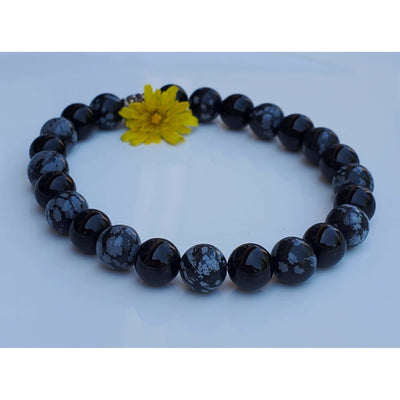Black Tourmaline and Snowflake Obsidian Unisex Mala Bracelet Mindful Creations by Gloria