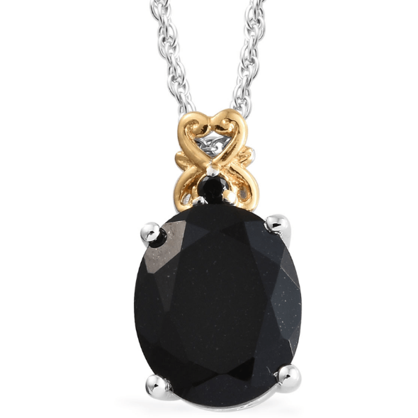 "Black Tourmaline & Spinel Pendant Necklace (20"") in Yellow Gold and Platinum over Sterling Silver Gemstone Collectors U.S."