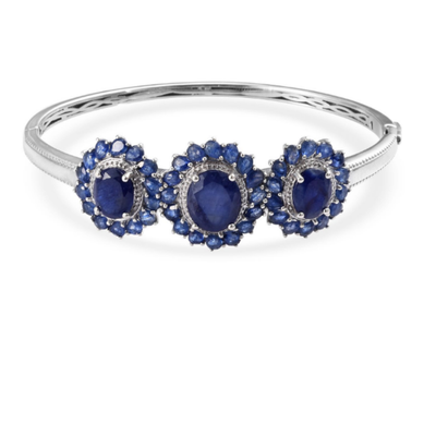 Blue Sapphire Bangle Bracelet in Platinum over Sterling Silver Gemstone Collectors U.S.