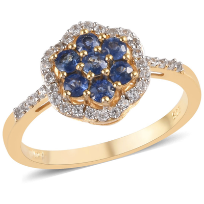 Blue Sapphire & Zircon Cluster Ring in Yellow Gold over Sterling Silver Gemstone Collectors U.S.