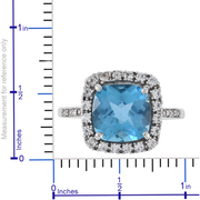 Blue Topaz & White Sapphire Ring in 10K White Gold Gemstone Collectors U.S.