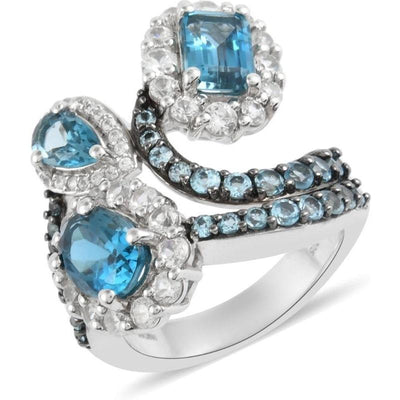 Blue Topaz & White Zircon Ring in Platinum over Sterling Silver Gemstone Collectors U.S.