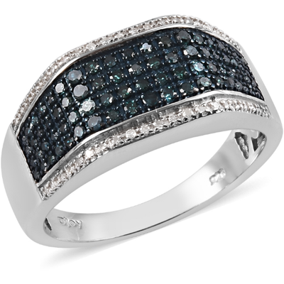 Blue & White Diamond Men's Ring in Platinum over Sterling Silver Gemstone Collectors U.S.
