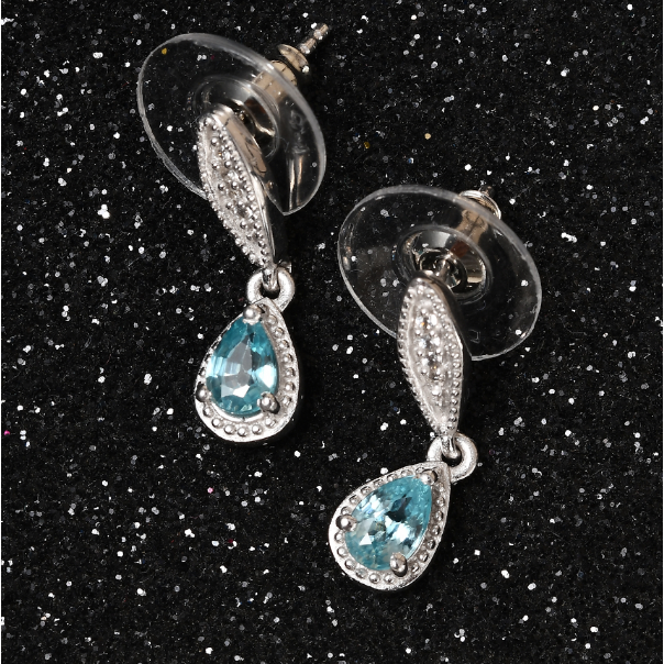 Blue & White Zircon Dangle Earrings in Platinum over Sterling Silver Gemstone Collectors U.S.