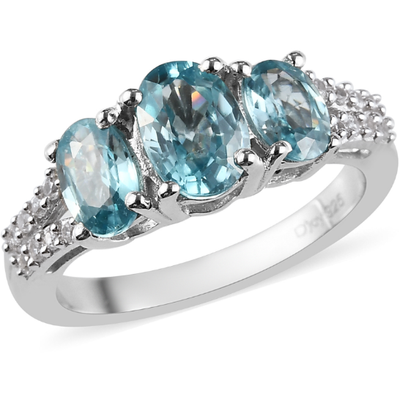 Blue & White Zircon Trilogy Ring in Platinum over Sterling Silver Gemstone Collectors U.S.