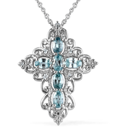 Blue Zircon Cross Necklace in Platinum over Sterling Silver Gemstone Collectors U.S.