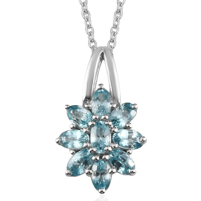 Blue Zircon Necklace in Platinum over Sterling Silver Gemstone Collectors U.S.
