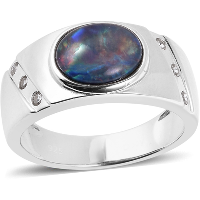 Boulder Opal Triplet & White Zircon Men's Ring in Platinum over Sterling Silver Gemstone Collectors U.S.