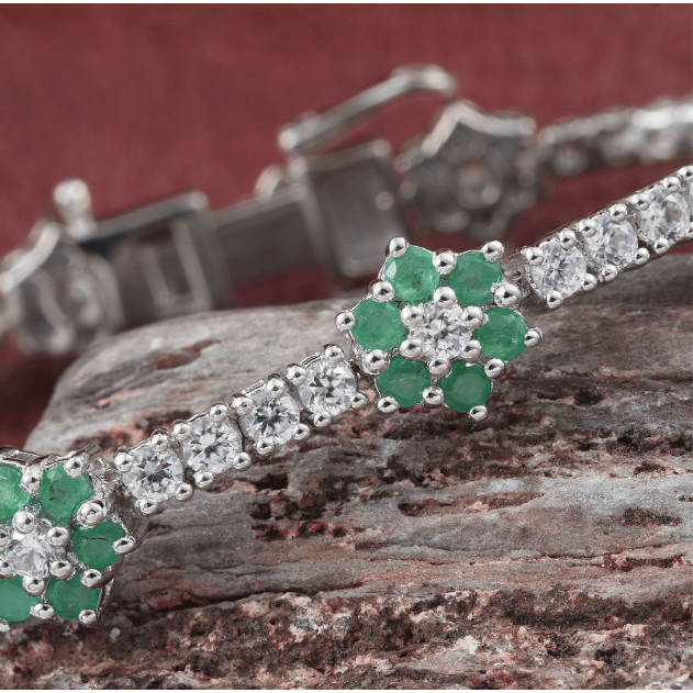 Brazilian Emerald & White Zircon Bracelet in Platinum over Sterling Silver Gemstone Collectors U.S.