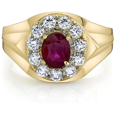 Burma Ruby & Diamond Halo 14k Yellow Gold Men's Ring Gemstone Collectors U.S.