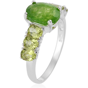 Burmese Green Faceted Jade & Peridot Ring in Platinum over Sterling Silver Gemstone Collectors U.S.