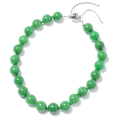 "Burmese Green Jade Bead Adjustable Necklace 18-24"" in Sterling Silver Gemstone Collectors U.S."