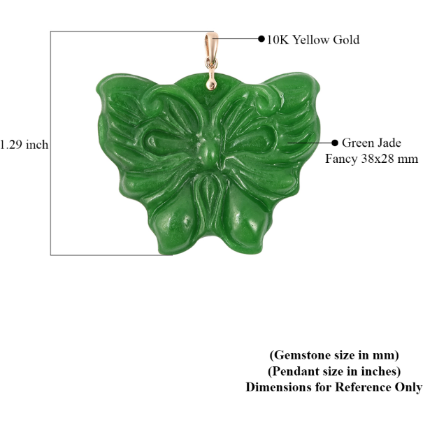 Burmese Green Jade Carved Butterfly Pendant in 10K Yellow Gold Gemstone Collectors U.S.