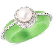 Burmese Green Jade, Pearl & Zircon Carved Ring in Platinum over Sterling Silver Gemstone Collectors U.S.