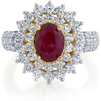 Burmese Ruby & White Diamond, Double Halo 14k Yellow Gold Ring Gemstone Collectors U.S.