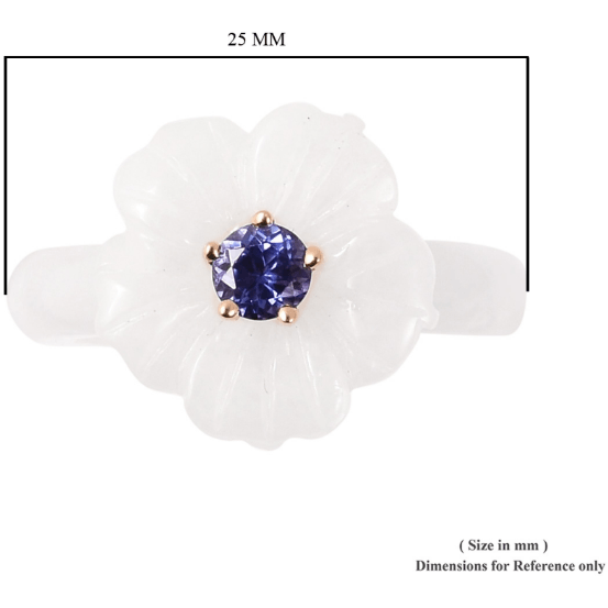Burmese White Jade & AA Tanzanite Flower Ring in 10K Yellow Gold Gemstone Collectors U.S.
