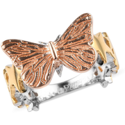 Butterfly Ring in 18K Rose Gold, 18K Yellow Gold & Platinum over Sterling Silver Gemstone Collectors U.S.