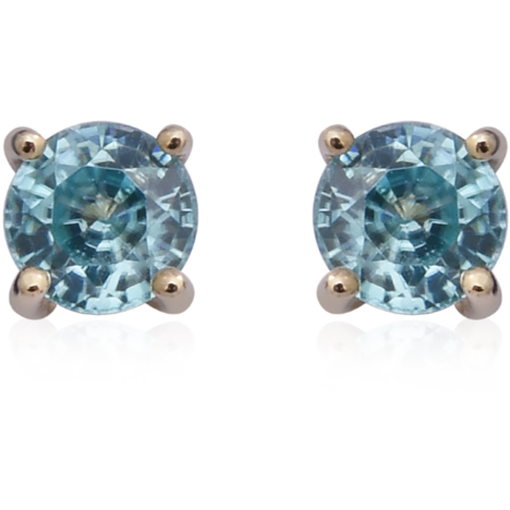 Cambodian Blue Zircon Round Stud Earrings in 10K Yellow Gold Gemstone Collectors U.S.
