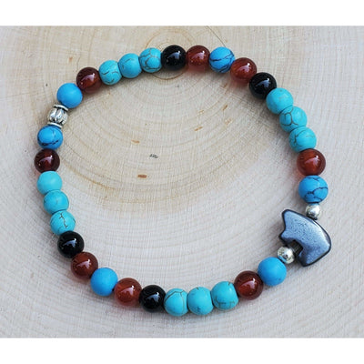 Carnelian, Blue Howlite and Black Tourmaline Bear Totem Bracelet Mindful Creations by Gloria