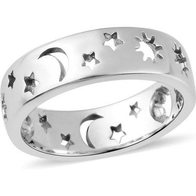 Celestial Stars & Moon Open Cut Band Ring in Platinum over Sterling Silver Gemstone Collectors U.S.