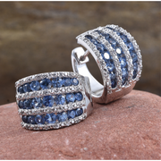 Ceylon Blue Sapphire & White Sapphire Earrings in Platinum over Sterling Silver Gemstone Collectors U.S.