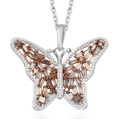 "Champagne Diamond Butterfly Pendant Necklace 20"" in Platinum over Sterling Silver Gemstone Collectors U.S."