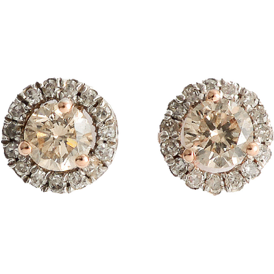 Champagne Diamond Halo Stud Earrings in 10K Rose Gold 0.50ctw Gemstone Collectors U.S.