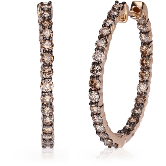 Champagne Diamond Inside Out Hoop Earrings in 10K Rose Gold 2.00ctw Gemstone Collectors U.S.