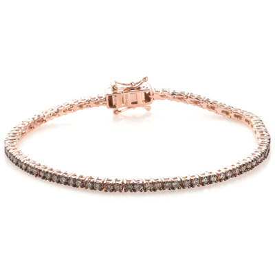 "Champagne Diamond Tennis Bracelet 14k Rose Gold over Sterling Silver (7.25"") Gemstone Collectors U.S."