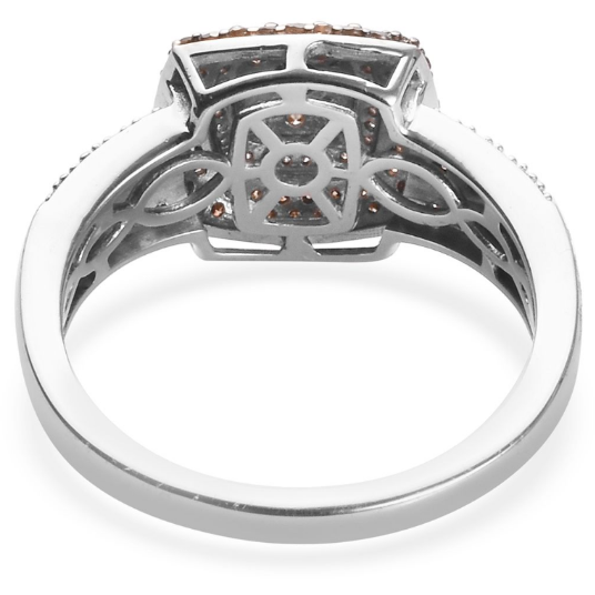 Champagne & White Diamond Cluster Ring in Platinum over Sterling Silver 1.00ctw Gemstone Collectors U.S.