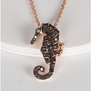 Champagne & White Diamond Sea Horse Pendant Necklace in Rose Gold over Sterling Silver Gemstone Collectors U.S.