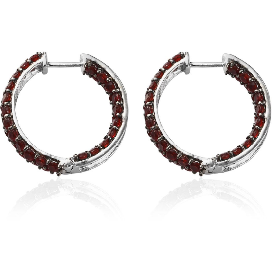 Cherry Fire Opal Hoop Earrings in Platinum over Sterling Silver Gemstone Collectors U.S.