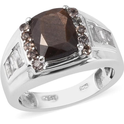 Chocolate Sapphire & Multi Gemstone Men's Ring in Platinum over Sterling Silver Gemstone Collectors U.S.