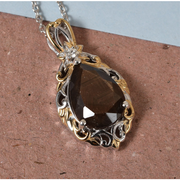"Chocolate Sapphire & Zircon Pendant Necklace 20"" in Yellow Gold & Platinum over Sterling Silver Gemstone Collectors U.S."