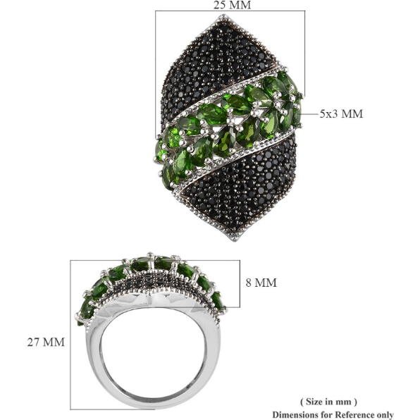 Chrome Diopside & Black Spinel Ring in Rhodium and Platinum over Sterling Silver Gemstone Collectors U.S.