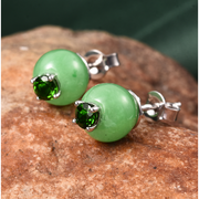 Chrome Diopside & Burmese Green Jade Stud Earrings in Platinum over Sterling Silver Gemstone Collectors U.S.