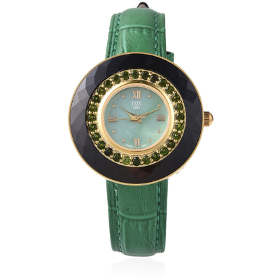 Chrome Diopside EON 1962 Watch in 14K Yellow Gold over Sterling Silver & Green Genuine Leather Gemstone Collectors U.S.