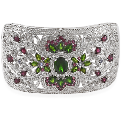 "Chrome Diopside & Multi Gemstone Cuff Bracelet in Sterling Silver 7"" Gemstone Collectors U.S."