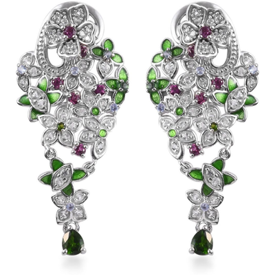 Chrome Diopside & Multi Gemstone Floral Dangle Earrings in Platinum over Sterling Silver Gemstone Collectors U.S.
